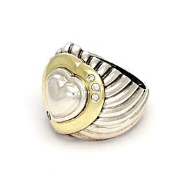David Yurman Diamond 18k Gold Sterling Heart Dome Band Ring Size - 5