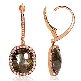 Rustic Opaque Brown & White Diamond Leverback Halo Earrings 5 4/5 CTW in 14k Rose Gold