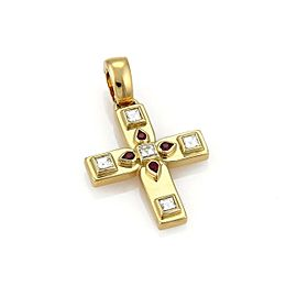 Cartier Diamond & Ruby 18k Yellow Gold Byzantine Cross Pendant