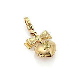 Louis Vuitton Heart & Bow Locket 18k Yellow Gold Charm Pendant