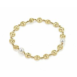 Mikimoto Akoya Pearls 18k Yellow Gold Round Wheel Link Bracelet