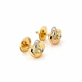 Cartier Diamond 18k Tricolor Gold Love Knot Stud Earrings w/Cert