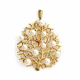 Mikimoto Akoya Pearls 18k Yellow Gold Fruit Tree Pendant