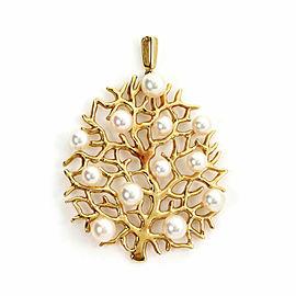 Mikimoto Akoya Pearls 18k Yellow Gold Fruit Tree Pendant