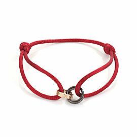 Cartier Baby Love Diamond 18k Gold & Ceramic Rings Red Cord Bracelet