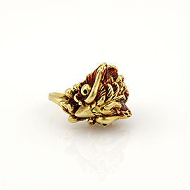 Vintage 18K Yellow Gold Enamel Owl Ring