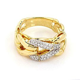 John Hardy Bamboo Diamond 18k Two Tone Gold Graduated Loop Band Ring