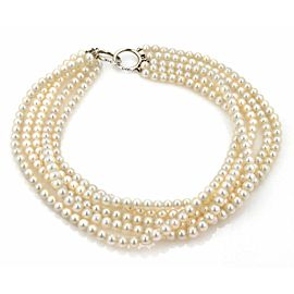 Tiffany & Co. Picasso 5 Strand 6.5mm Pearls Sterling Ring Clasp Necklace