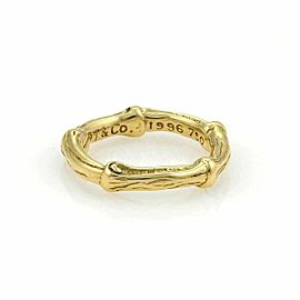 Tiffany & Co. Nature Bamboo 18k Yellow Gold Band Ring Size 5