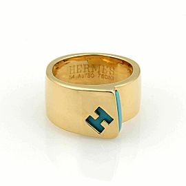 Hermes Turquoise Logo H Band Ring in 18k Yellow Gold - Size 6.5