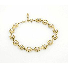 Mikimoto 3.5mm Akoya Pearls 18k Yellow Gold Floral Link Adjustable Bracelet