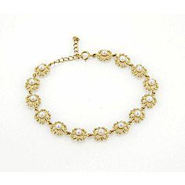 Mikimoto 3.5mm Akoya Pearls 18k Yellow Gold Floral Link Adjustable Bracelet