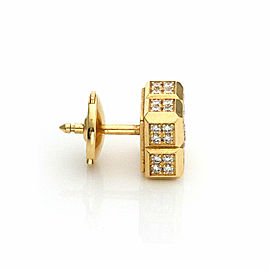 Chopard Diamond Ice Cube 18k Yellow Gold Square Stud Earrings