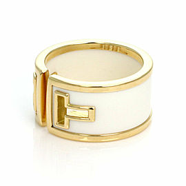 Tiffany & Co. T Cut White Ceramic 18k Yellow Gold Wide Band Ring Germany Size 6