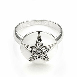 Chanel Diamond White Ceramic 18k White Gold Dome Shape Star Ring