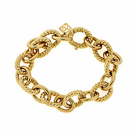 David Yurman 18k Yellow Gold Oval Cable Link Chain Bracelet