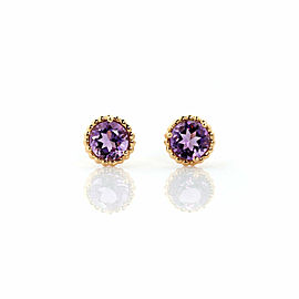 Tiffany & Co Picasso Sparkle Amethyst 18k Yellow Gold Framed Round Stud Earrings