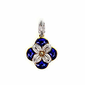 H.Stern Diamond Blue Enamel 18k Two Tone Gold Flower Pendant