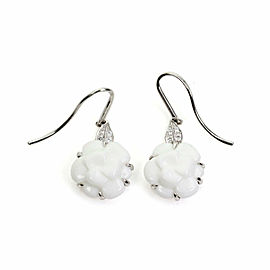 Chanel Camellia Diamond White Agate 18k White Gold Hook Dangle Earrings