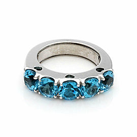 Pasquale Bruni 5 Carats Blue Topaz 18k White Gold Band Ring