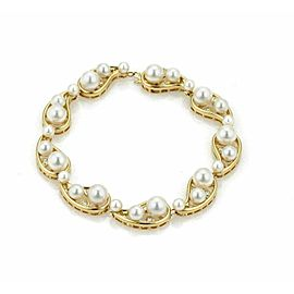 Mikimoto Pearls & Diamond 18k Yellow Gold 9 Curved Link Bracelet