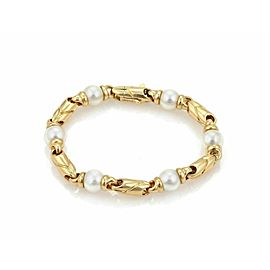 Bulgari Pearls 18k Yellow Gold Fancy Link Bracelet