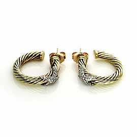 David Yurman Diamond 14k Two Tone Gold Cable X Design Hoop Earrings