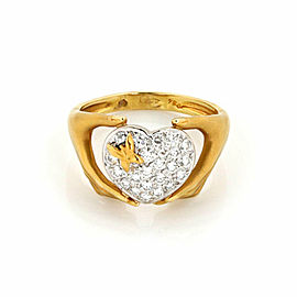 Carrera y Carrera Diamond 18k Two Tone Gold Heart Butterfly Hand Ring