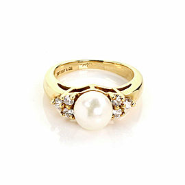 Tiffany & Co. Diamond Pearl 18k Yellow Gold Cocktail Ring Size 3.75