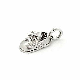 Aaron Basha Diamond 18k White Gold Baby Shoe Charm Pendant