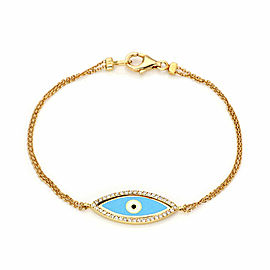 Aaron Basha Diamond Enamel Good Luck Eye Charm 18k Gold Double Chain Bracelet