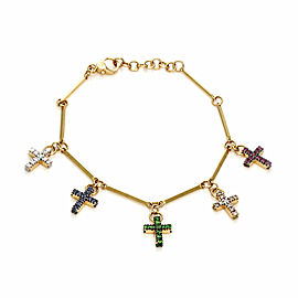 Pomellato GLORY Diamond & Gems 18k Gold 5 Dangle Cross Charms Bracelet