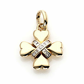 Bvlgari Diamond 18k Yellow Gold Fancy Heart Design Cross Pendant