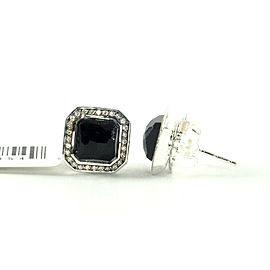 IPPOLITA Sterling Silver Black Onyx Diamond Stud Earrings .925 Stella