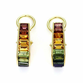 H. Stern Rainbow Multi-Color Gemstones 18k Yellow Gold Oval Hoop Earrings