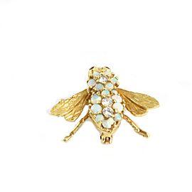 Herbert Rosenthal Diamond Opal & Ruby 18k Yellow Gold Bee Brooch Pin