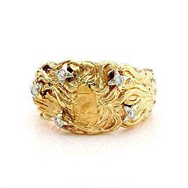 Carrera y Carrera Venus Diamond 18k Yellow Gold Wide Band Ring Size 6