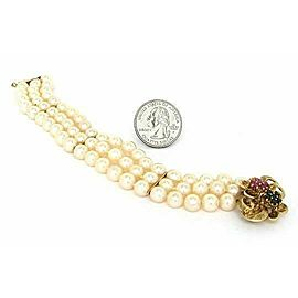 Estate Sapphire & Ruby Triple Strand Pearl 14k Yellow Gold Bracelet