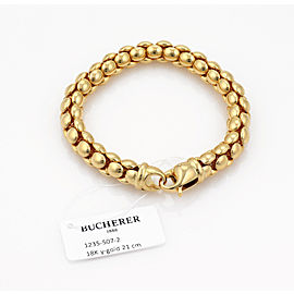 Bucherer Beaded Flex Tube 18k Yellow Gold Link Bracelet