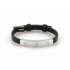 Cartier Love 18k White Gold Slide Bar Leather Belt & Buckle Bracelet