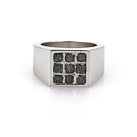 Cartier Rough Cut Diamond 18k White Gold Square Top Band Ring Size EU 54 US 7
