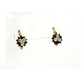 Victorian 1.70ct Old Mine Cut Diamond Onyx 18k Yellow Star Burst Stud Earrings