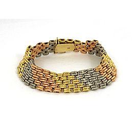 Vintage 18k Tri-Color Gold 13mm Wide Fancy Design Bracelet