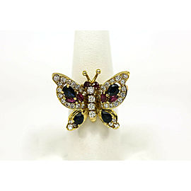 Gorgeous 18K Gold, Diamonds & Gems Ladies Unique Butterfly Cocktail Ring Pin