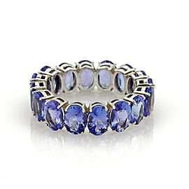 Estate Full Circle 12.62ct Oval Cut Tanzanite 14k White Gold Band Ring Sz 9.5