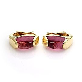 Bvlgari Bulgari Tronchetto Pink Tourmaline 18k Yellow Gold Huggie Earrings