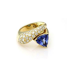 Estate 3.50ct Tanzanite Diamond 18k Yellow Gold Fancy Cocktail Ring Size 6