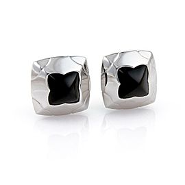 Bvlgari Bulgari Onyx 18k White Gold Floral Post Clip Earrings