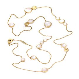 "Marco Bicego 18k Yellow Gold Mother of Pearl Circle Station Chain Necklace 36"" L"