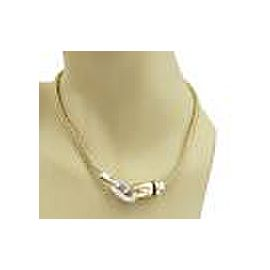 18k Two Tone Gold Diamond Oval Clasp Pendant Fancy Woven Chain Necklace